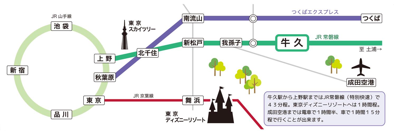 牛久市の位置図